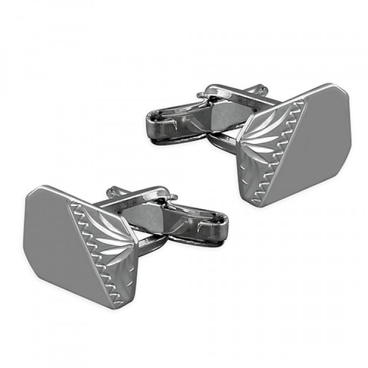 Half-engraved oblong cufflink with swivel fitting