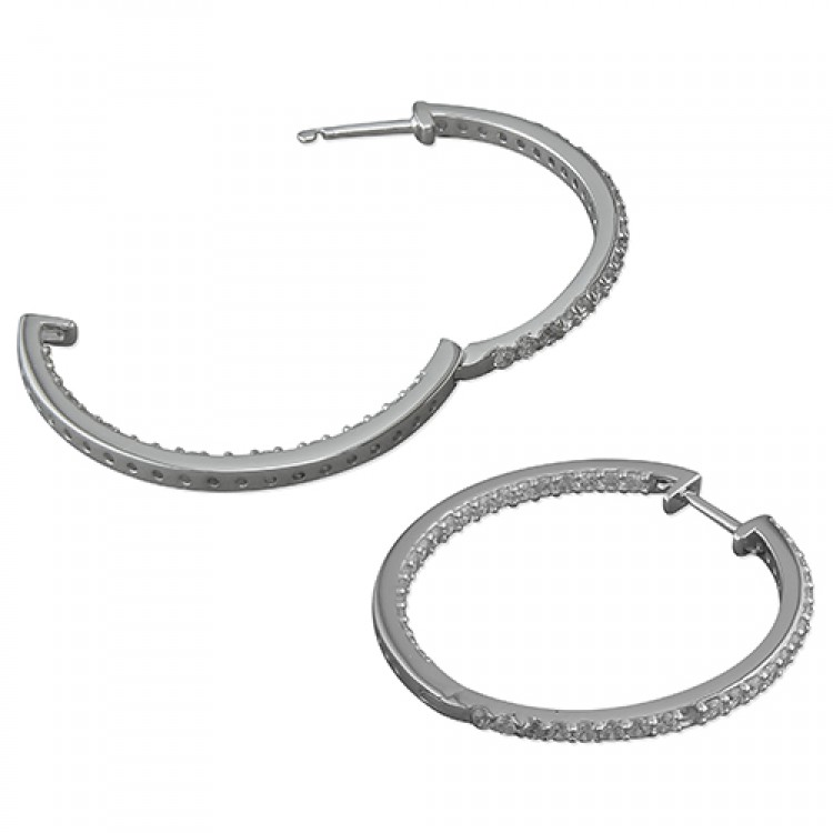 30mm cubic zirconia front-and-back hoop