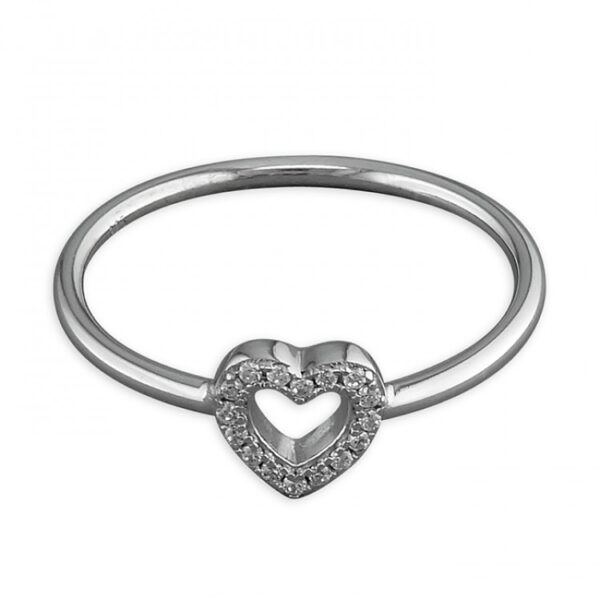Cubic zirconia outline heart on band