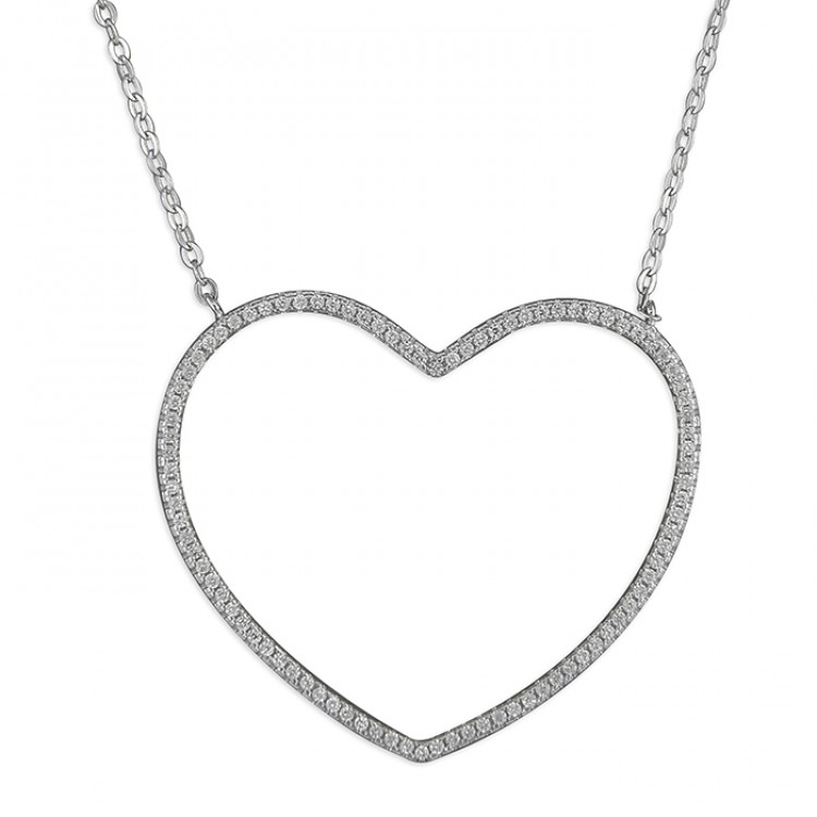 41-46cm large cubic zirconia outline heart