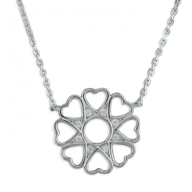 41-45cm hearts petalled flower with cubic zirconias