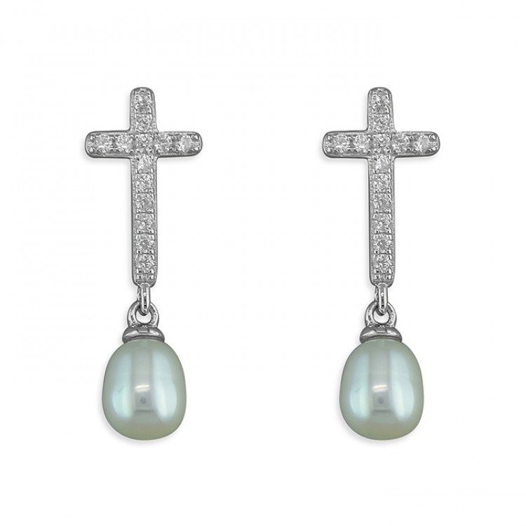 Cubic zirconia cross stud with freshwater pearl drop