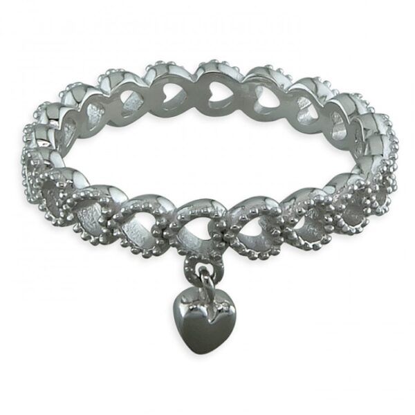 Rhodium-plated heart charm band