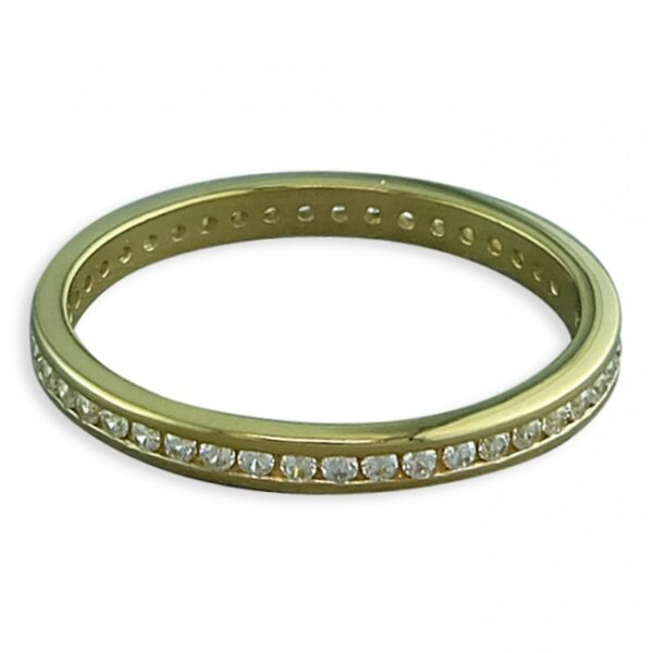 Gold-plated white cubic zirconia channel-set band