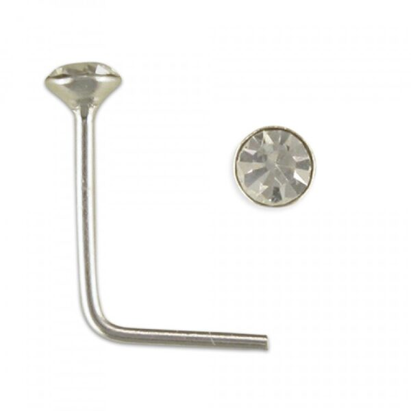 1mm clear crystal nose stud 5 in box