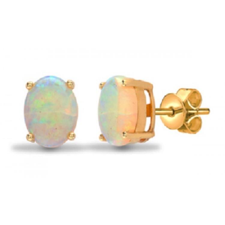 Australian opal oval yellow gold earrings