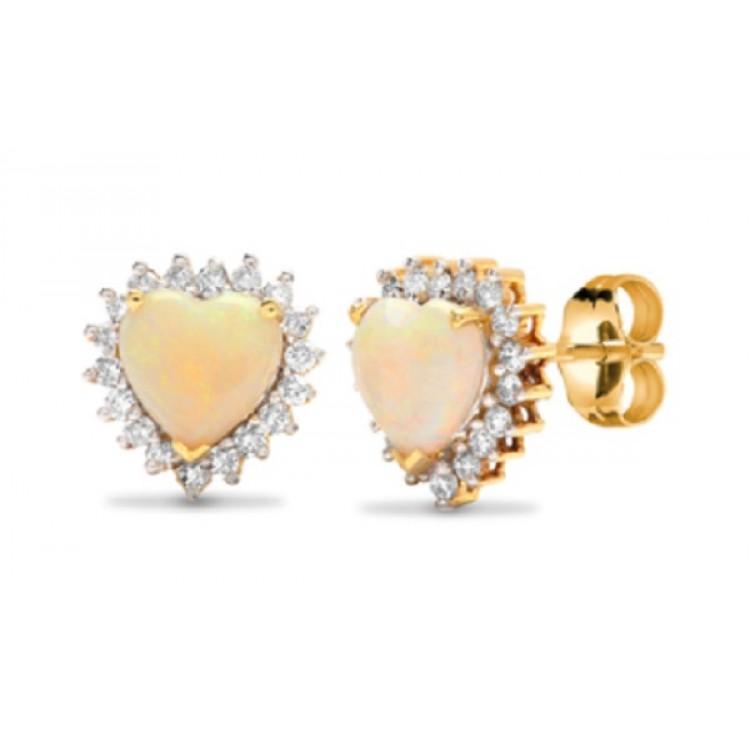 Diamond with opal heart shape yellow gold earrings
