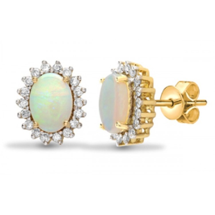 Diamond with opal yellow gold earrings