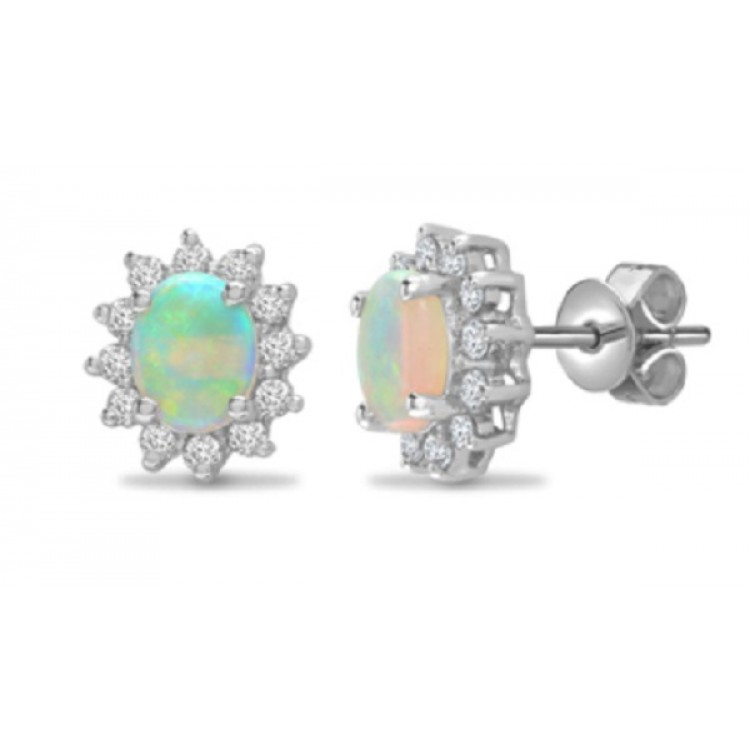 Diamond with opal white gold earrings