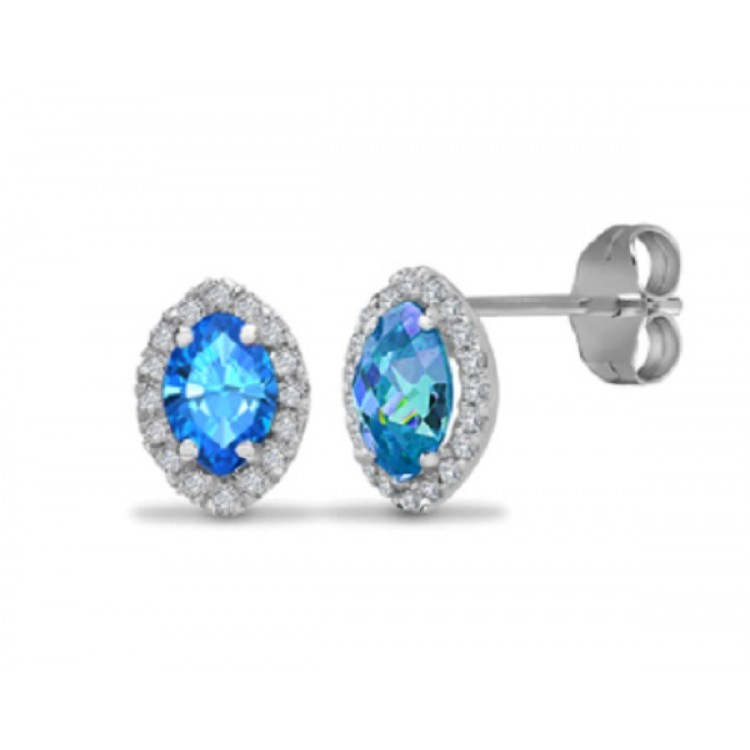 Diamond with blue topaz white gold earrings