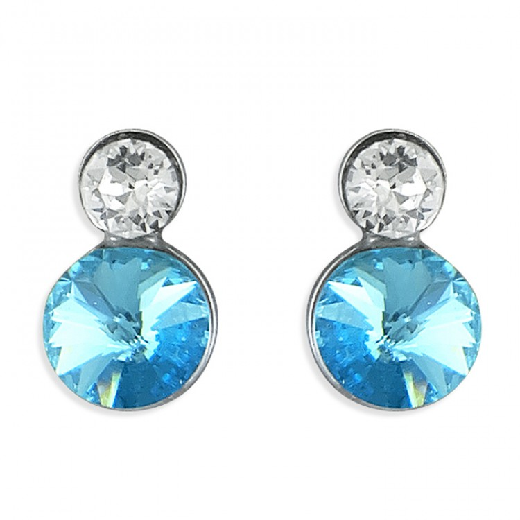 Large blue and small white crystals stud