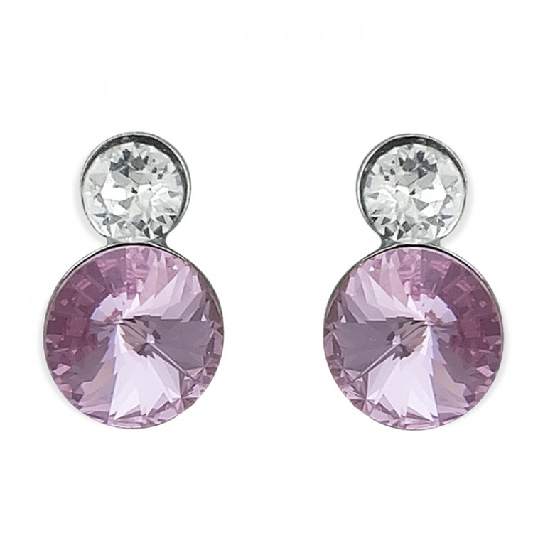 Large pink and small white crystals stud