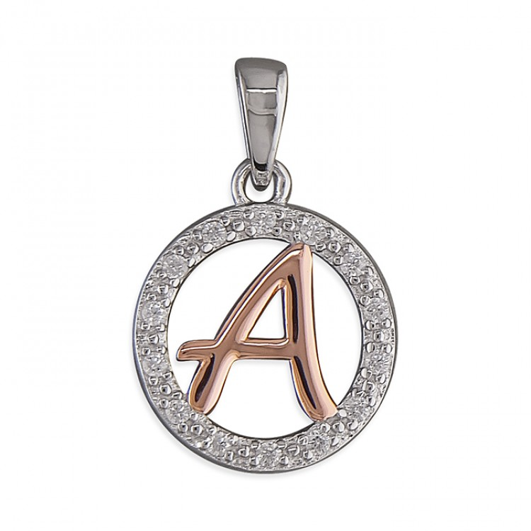 A Cubic zirconia circle with rose gold-plated initial
