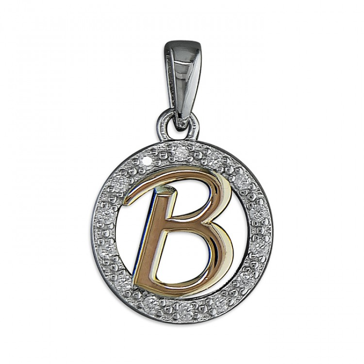 B Cubic zirconia circle with rose gold-plated initial