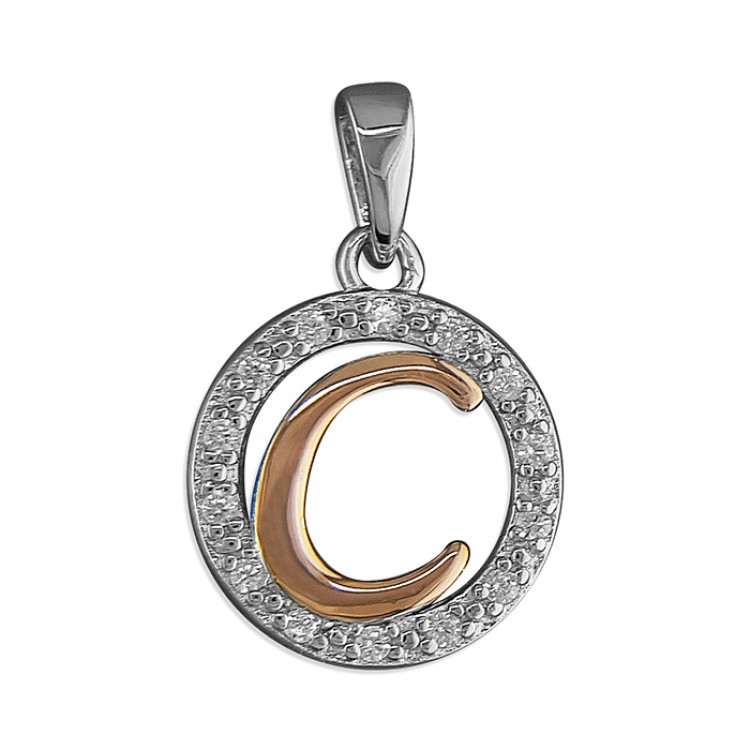 C Cubic zirconia circle with rose gold-plated initial