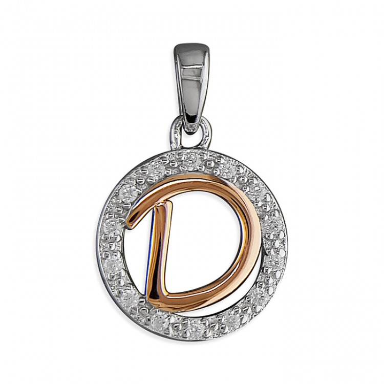 D Cubic zirconia circle with rose gold-plated initial