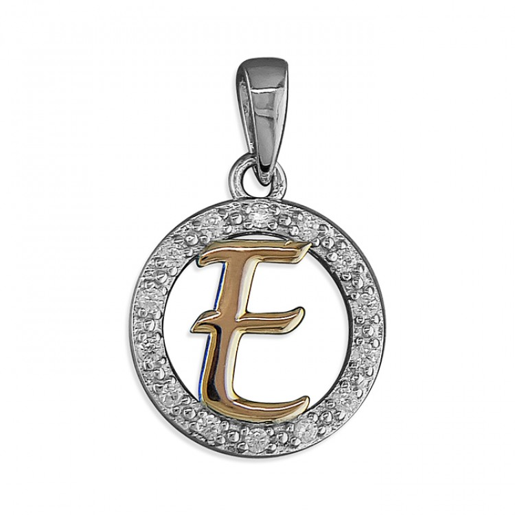 E Cubic zirconia circle with rose gold-plated initial