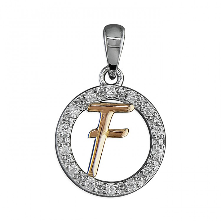 F Cubic zirconia circle with rose gold-plated initial