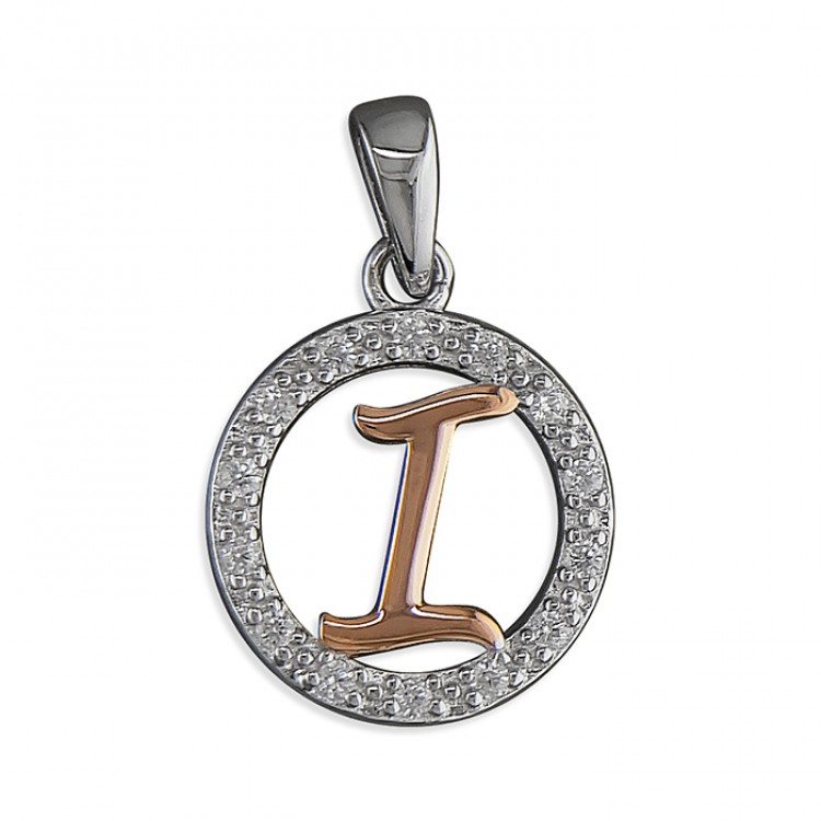 I Cubic zirconia circle with rose gold-plated initial