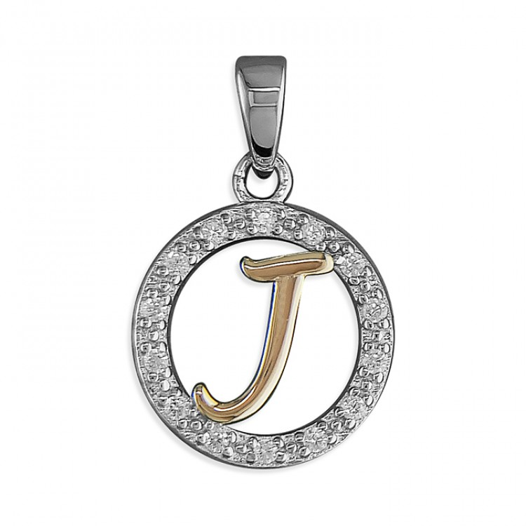 J Cubic zirconia circle with rose gold-plated initial