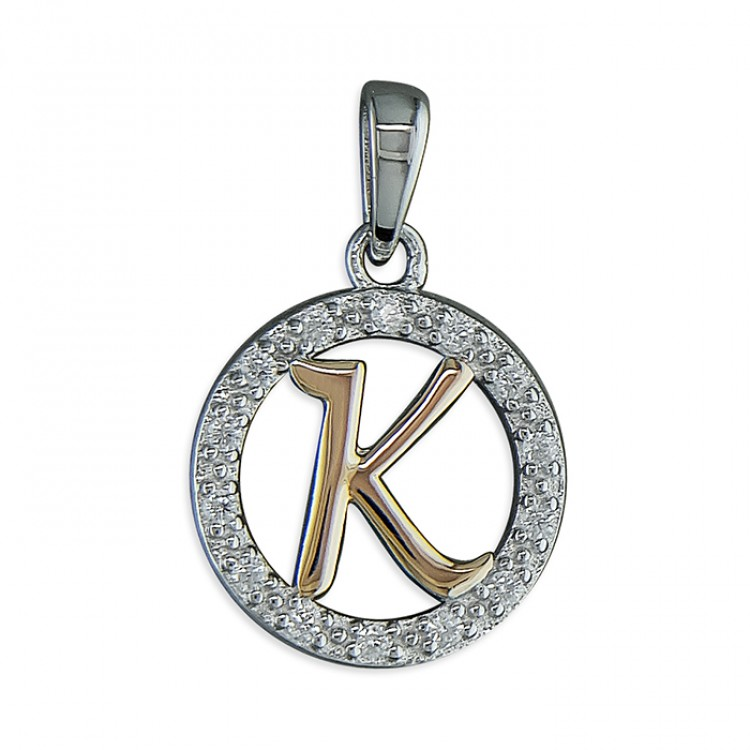 K Cubic zirconia circle with rose gold-plated initial