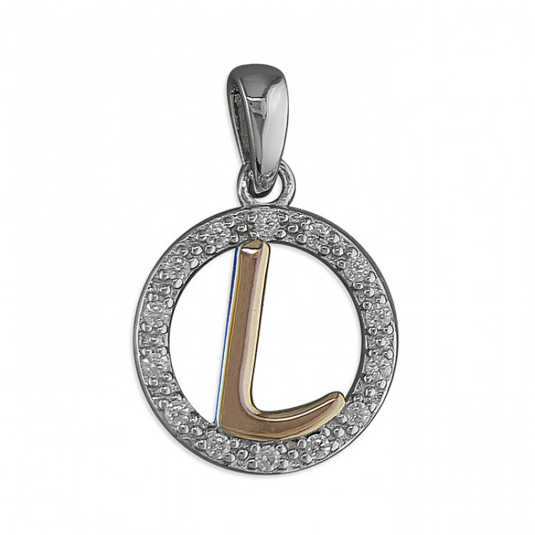 L Cubic zirconia circle with rose gold-plated initial