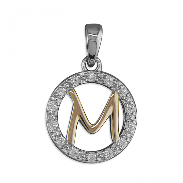 M Cubic zirconia circle with rose gold-plated initial