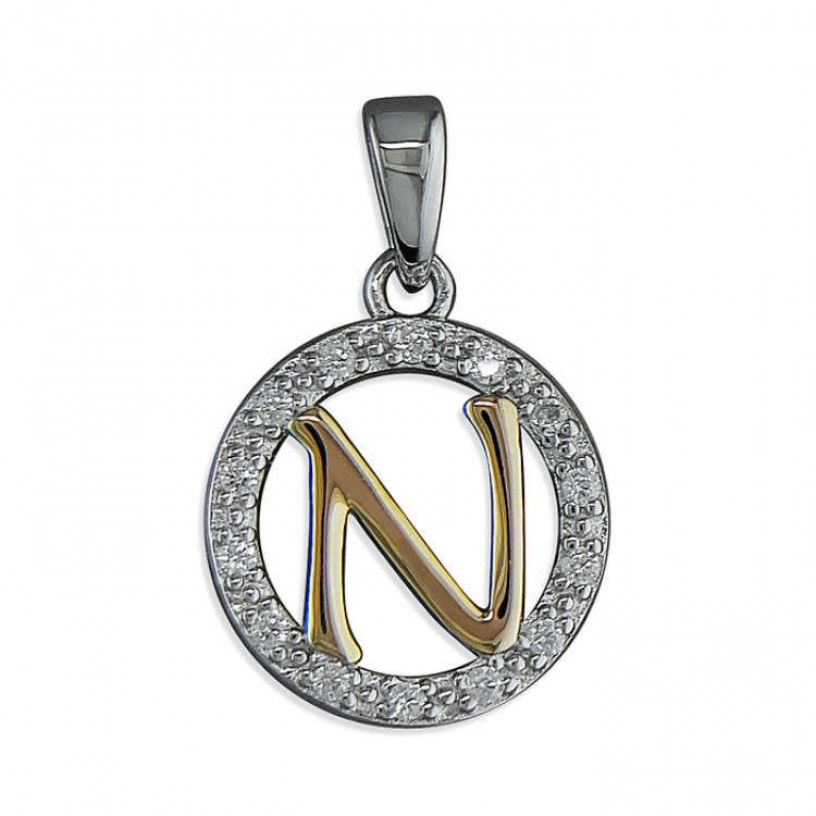 N Cubic zirconia circle with rose gold-plated initial