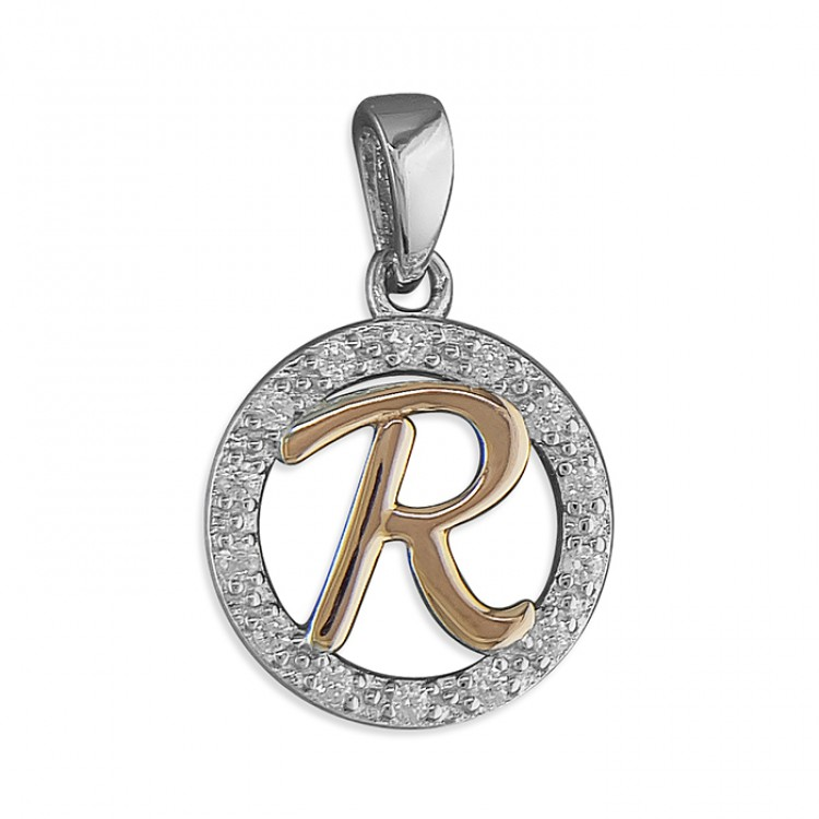R Cubic zirconia circle with rose gold-plated initial