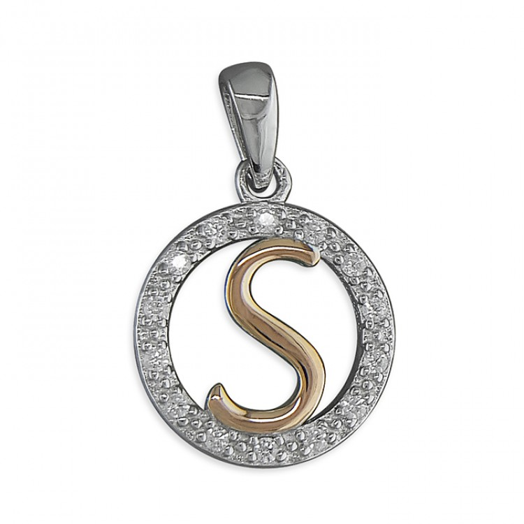 S Cubic zirconia circle with rose gold-plated initial