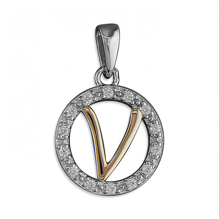 V Cubic zirconia circle with rose gold-plated initial