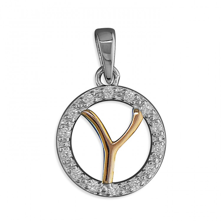 Y Cubic zirconia circle with rose gold-plated initial