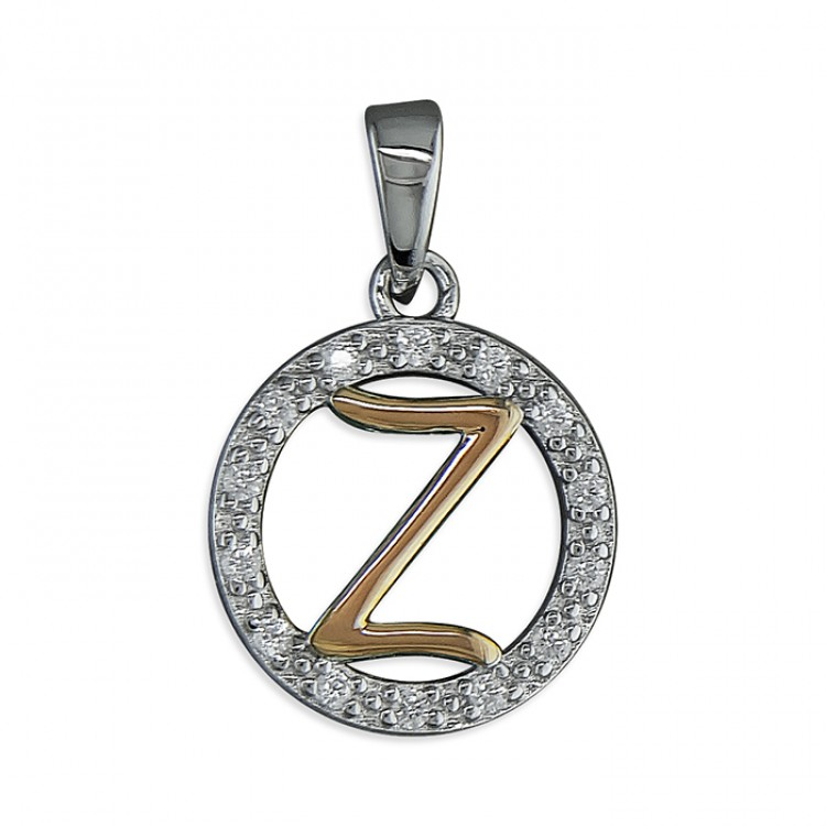 Z Cubic zirconia circle with rose gold-plated initial