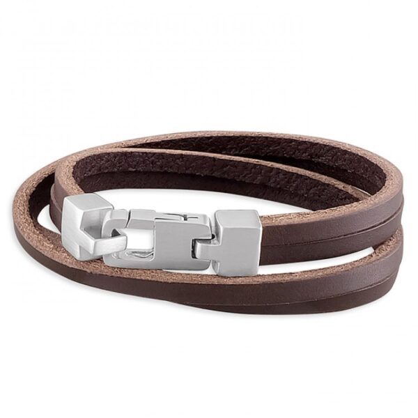 Mens brown leather double wrap-around