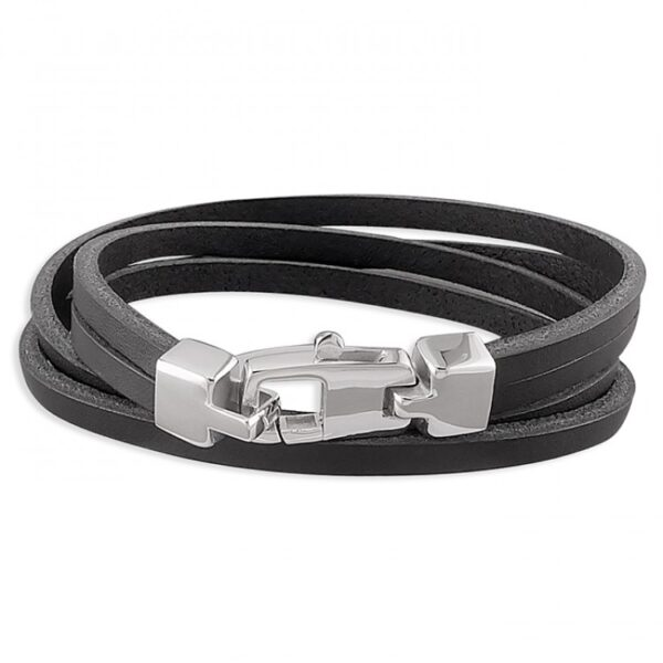 Mens black leather double wrap-around