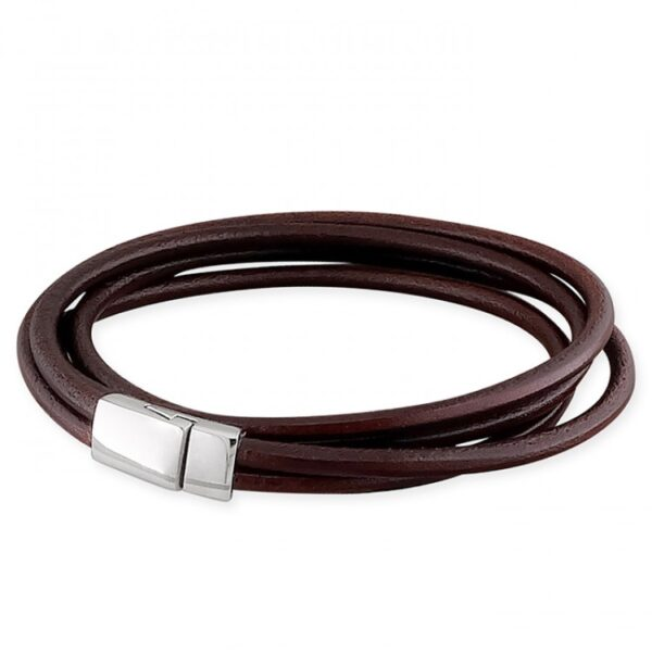 Mens brown leather thin wrap-around