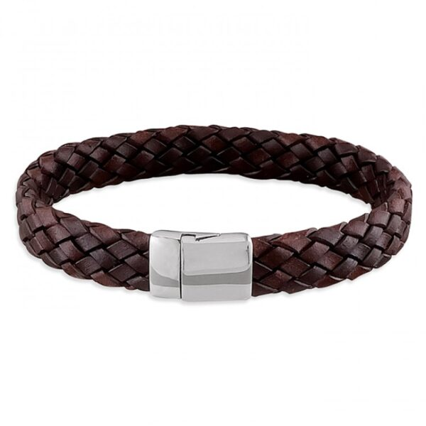 Mens brown leather plaited