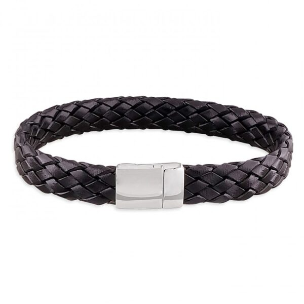Mens black leather plaited