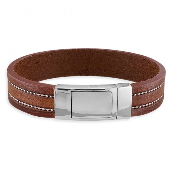 Mens wide brown leather with beads