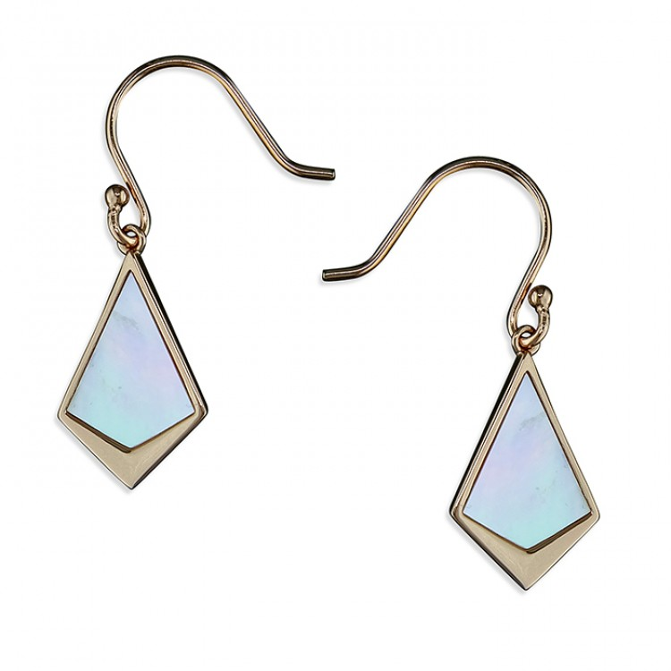 Mother-of -Pearl and rose gold-plated kite-shape drop