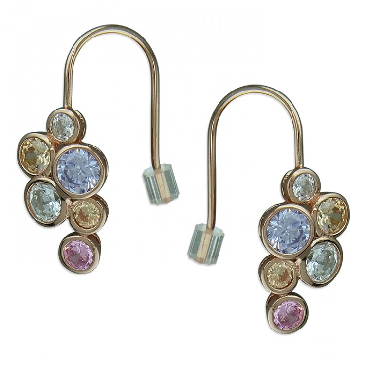 Rose gold-plated coloured cubic zirconia cluster hook-in