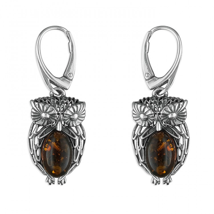 Cognac amber fancy owl drop