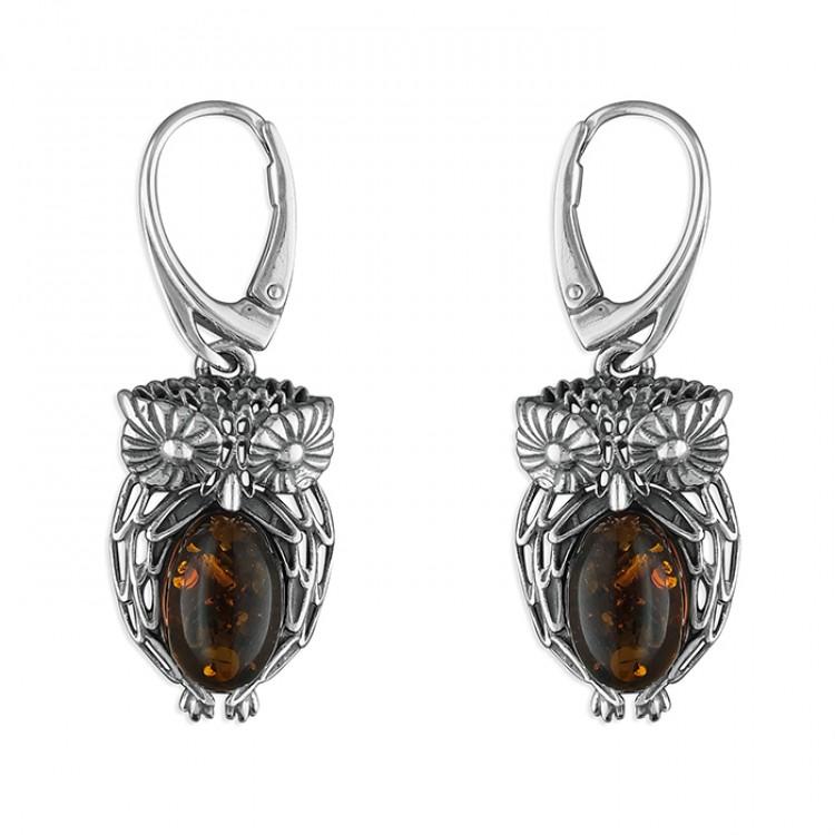 Cognac amber fancy owl drop