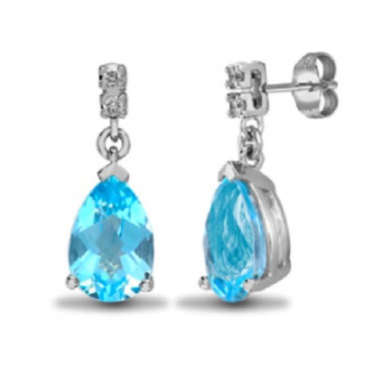 Diamond with blue topaz teardrop stud earrings