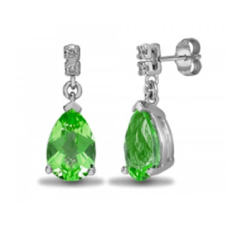 Diamond with peridot teardrop stud earrings