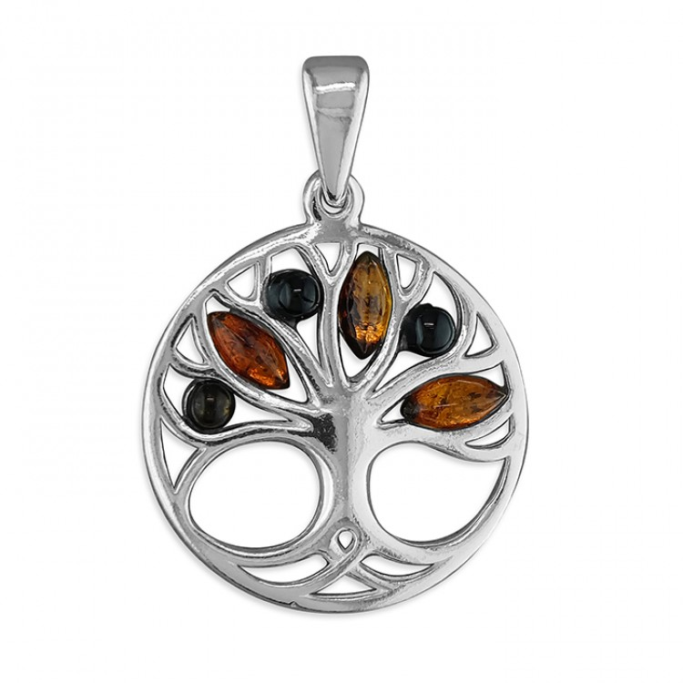 Mixed amber Tree of Life in circle