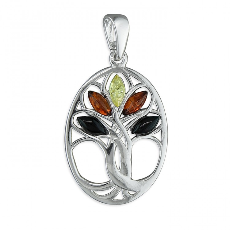 Mixed amber Tree of Life in oval