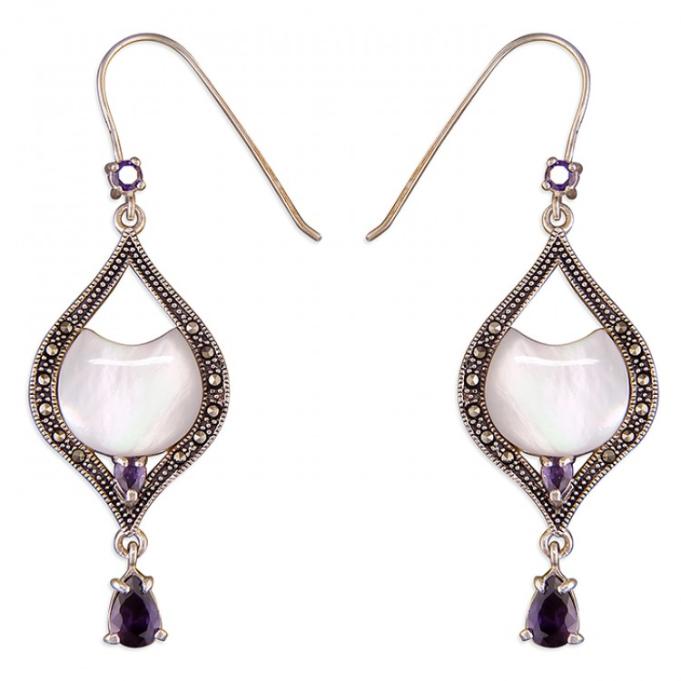 Marcasite pear-shape with Mother-of-Pearl and purple cubic zirconia drop