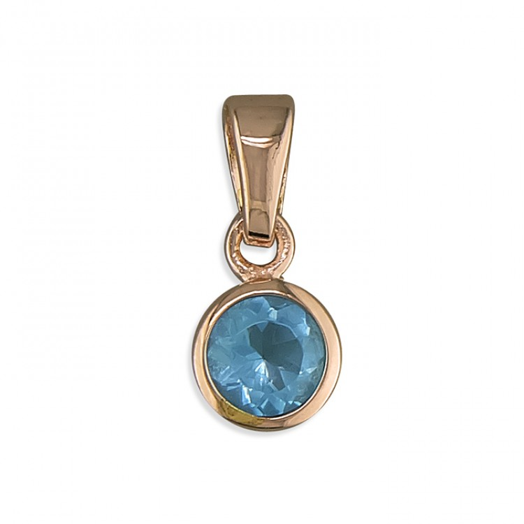March birthstone rose gold-plated rub-over cubic zirconia