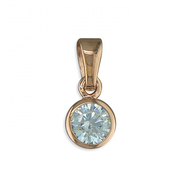April birthstone rose gold-plated rub-over cubic zirconia
